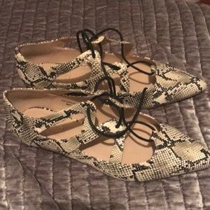 Top shop snakeskin lace up flats- on trend